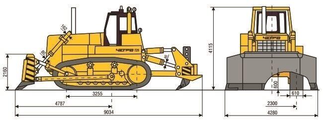 Габаритные размеры бульдозера Четра Т-25.01 ЯБР-1